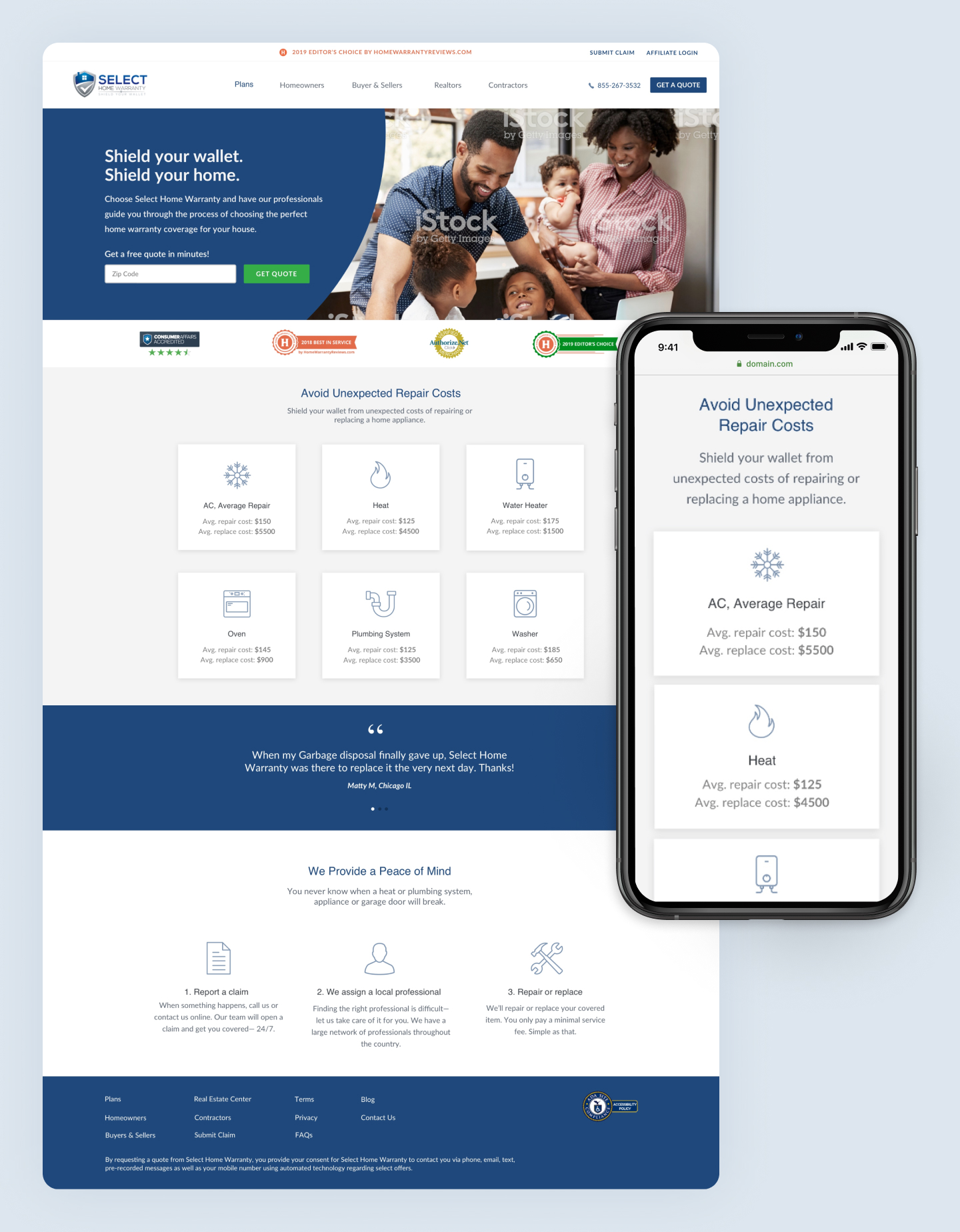 Full page view of redesigned Select Home Warranty website homepage